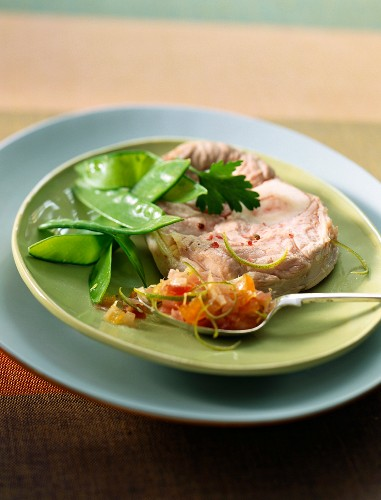 Steamed veal shank with Cremone mustard sauce