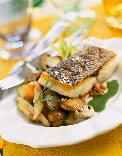 Piece of bass grilled with old-fashioned vegetables