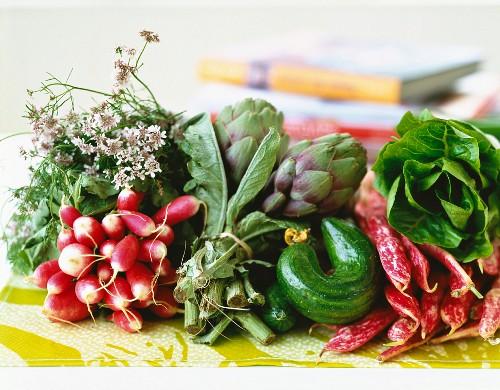 Arrangement of early vegetables