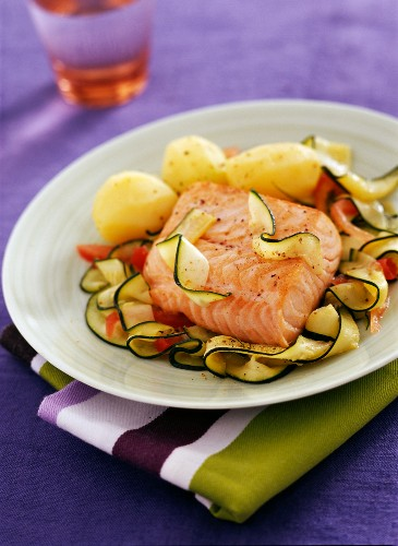 Sea trout with summer vegetables