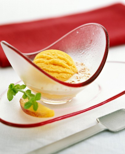 Peach sorbet with fromage blanc and cinnamon