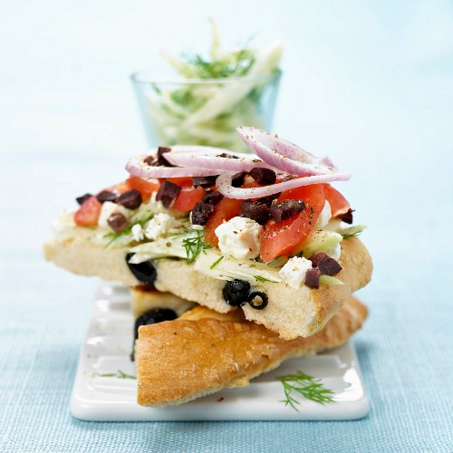 Feta, dill and olive open sandwich