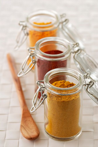 small jars of spices