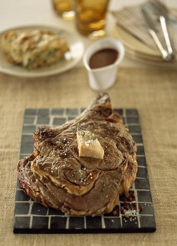 Beef chop with parsley butter