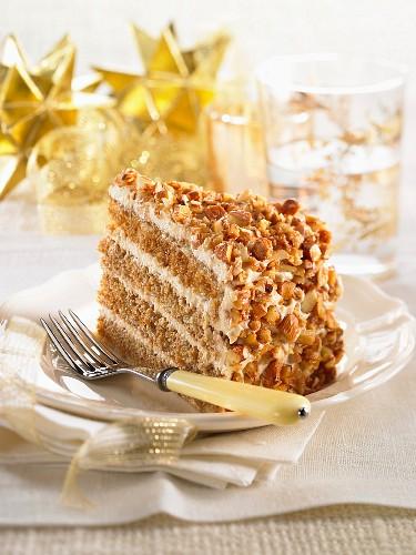 A slice of almond cake