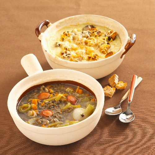 Resonated potato soup with Beaufort cheese, and rustic lentil soup
