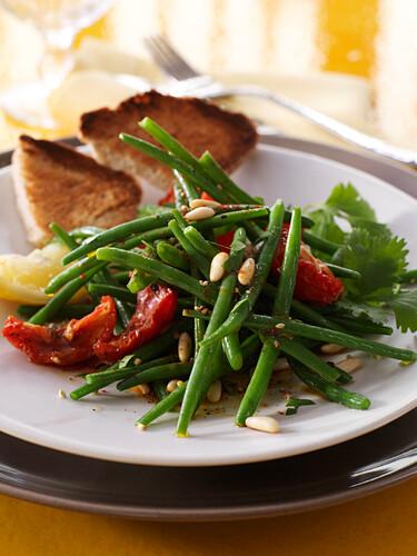 Warm green bean and confit tomato salad