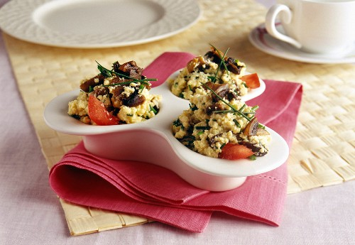 Scrambled eggs with mushrooms and chives