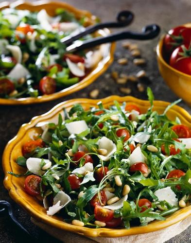 Rocket lettuce and parmesan mixed salad