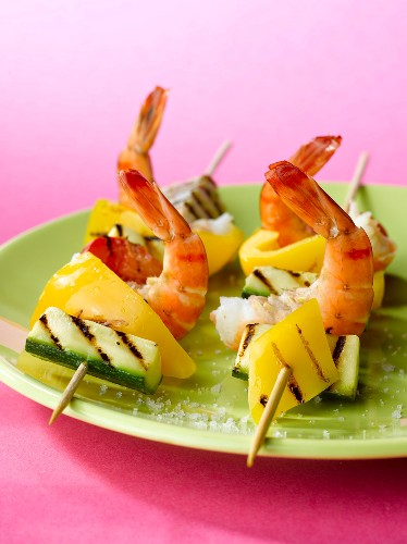Shrimp and pepper skewers