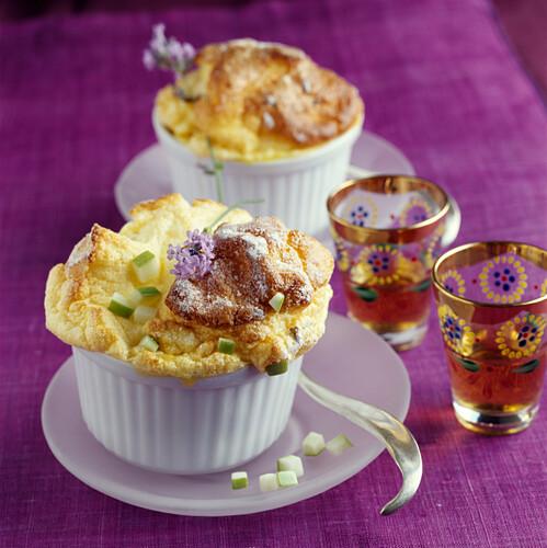 Granny smith apple and lavander soufflé