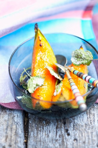 Roast melon with olive oil and brown sugar