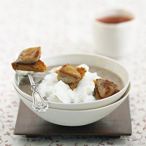 Cream of mushroom soup with foie gras