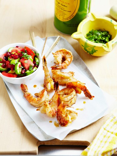 Grilled shrimps with cucumber,watermelon,tomato and pomegrante salad