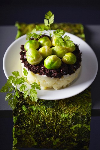 Brussels sprout and blood sausage Parmentier