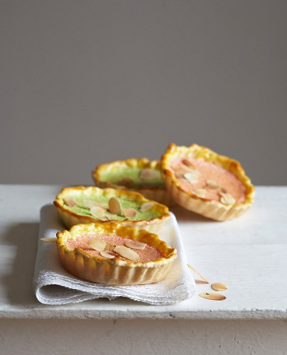 Two different flavored almond tartlets