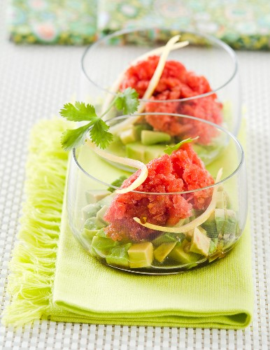 Tomato sorbet with diced avocado