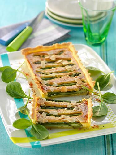 Asparagus and almond tart