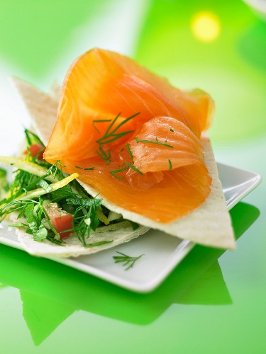 Smoked salmon with fresh herbs