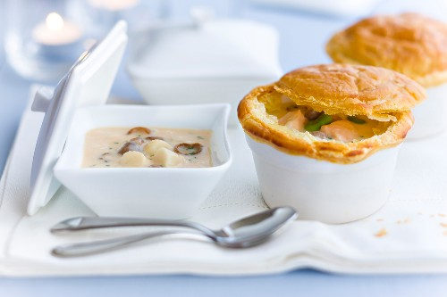 Seafood Cassolette sealed with a pastry crust