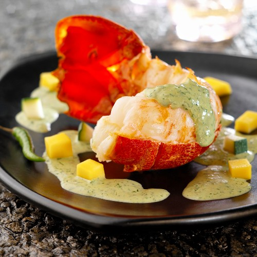 Lobster with green curry sauce