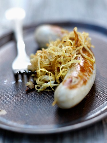 Sausages with cabbage chutney