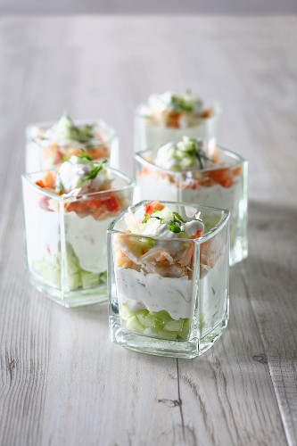 Cucumber, yoghurt and crab cocktails