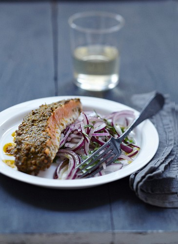 Salmon in chermoula sauce and red onion salad