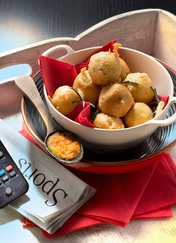 Portugal :Cod Brandade fritters with pureed tomatoes