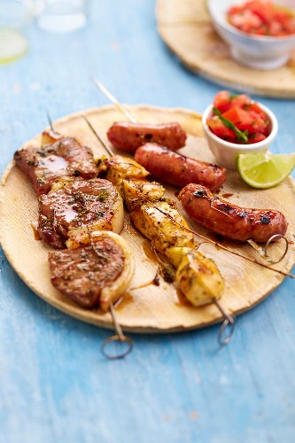 Churrasco: Picanha beef, chicken and Linguica sausages