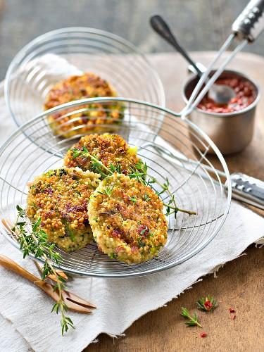 Quinoa,broccoli and bacon croquettes