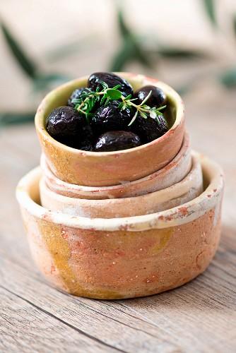 Bowl of black Greek olives