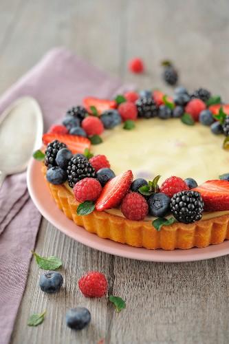 Cheesecake-style summer fruit tart