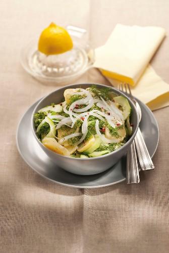 Potato, cucumber, onion and dill fresh salad
