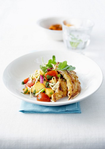 Nectarine, tomato, grated celeriac and grilled chicken salad