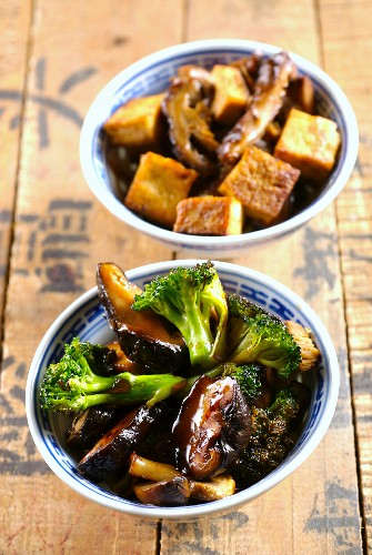 Sautéed mushrooms with broccoli and hoisin sauce, and sautéed shiitake mushrooms with tofu