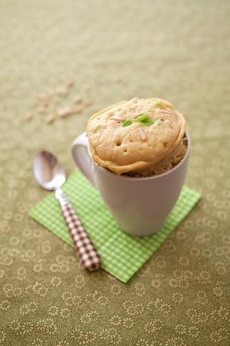 Leek and pine nut savoury mugcake