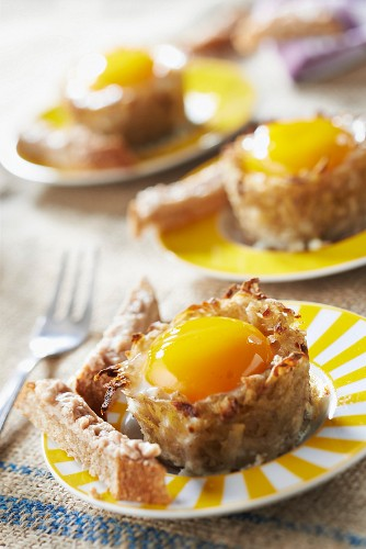 Coodled egg-style small Cherie potato nests and bread fingers with monkfish liver paté
