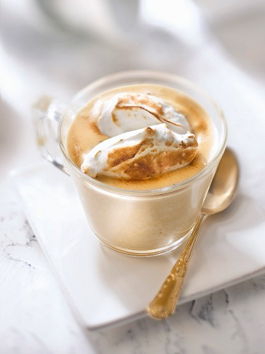 Coffee sabayon topped with meringue