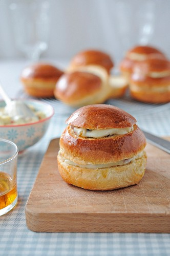 Small brioches garnished with candied fruit butter