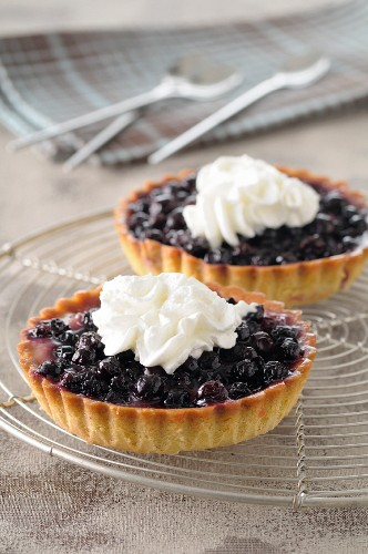 Blueberry pies with whipped cream