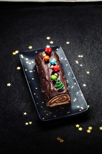 Chocolate Christmas log cake