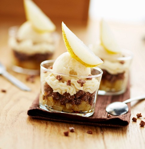 Stewed diced pear,crumbled chocolate corn flake cookie,whipped cream and pear sorbet desserts