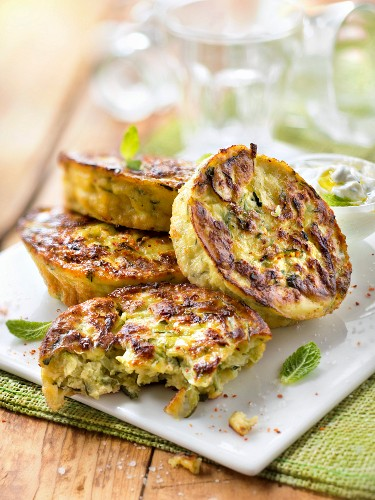 Courgettes Paillasson with mint sauce