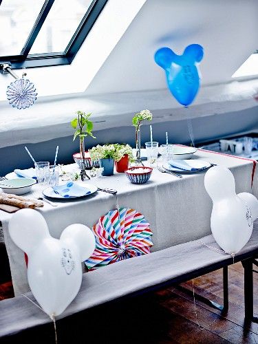 Decorated table for a children's party