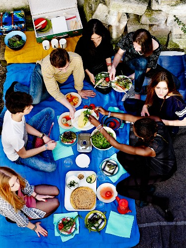 Bunch of teenagers picnicking outdoors