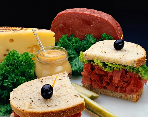 Corned Beef Sandwich Cut in Half with Ingredients