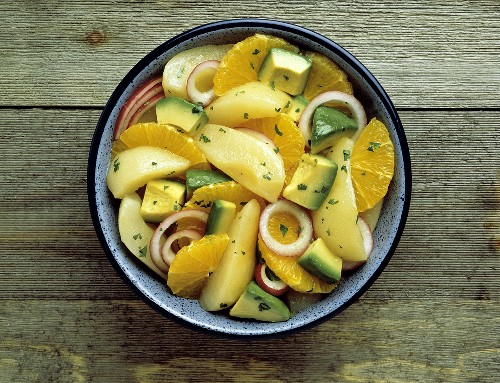 Fruit Salad with Pear and Orange; Avocado