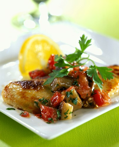 Quorn (meat substitute) with tomato and aubergine relish