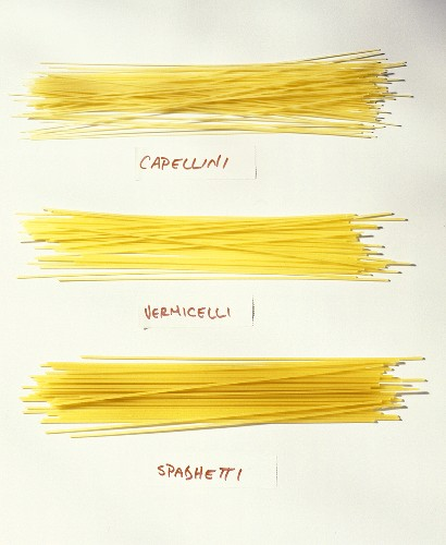 Capellini, Vermicelli and Spaghetti